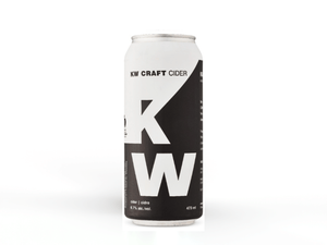 Tall can of kw craft cider sparkling dry hard apple cider available at bitte schon brauhaus a craft brewery in New Hamburg.
