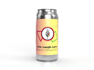 Label for live. laugh. love. raspberry hibiscus blonde craft beer made by bitte schon brauhaus, new hamburg's only craft brewery.