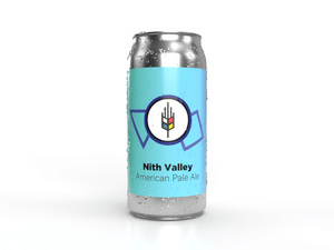 Tall can of Nith Valley American Pale Ale a hoppy and delicious craft beer made in Waterloo Region by Bitte Schon Brauhau