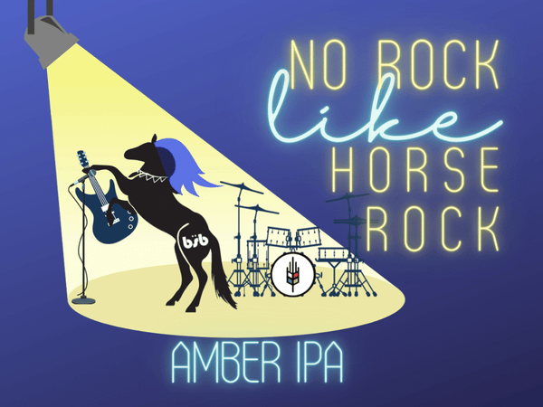 label for No Rock Like Horse Rock Amber IPA made in New Hamburg by Bitte Schon Brauhaus