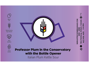 label for profesor plum italian plum kettle sour made by bitte schon brauhaus in waterloo region. A delicious and sour craft beer.