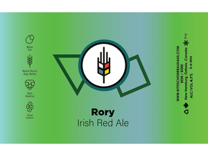 Green label for Rory Irish Red Ale. This is a craft beer made by bitte schon brauhaus in Waterloo Region.