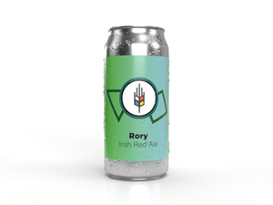 Tall can of Rory Irish Red Ale a malt forward ale that was brewed in New Hamburg Ontario