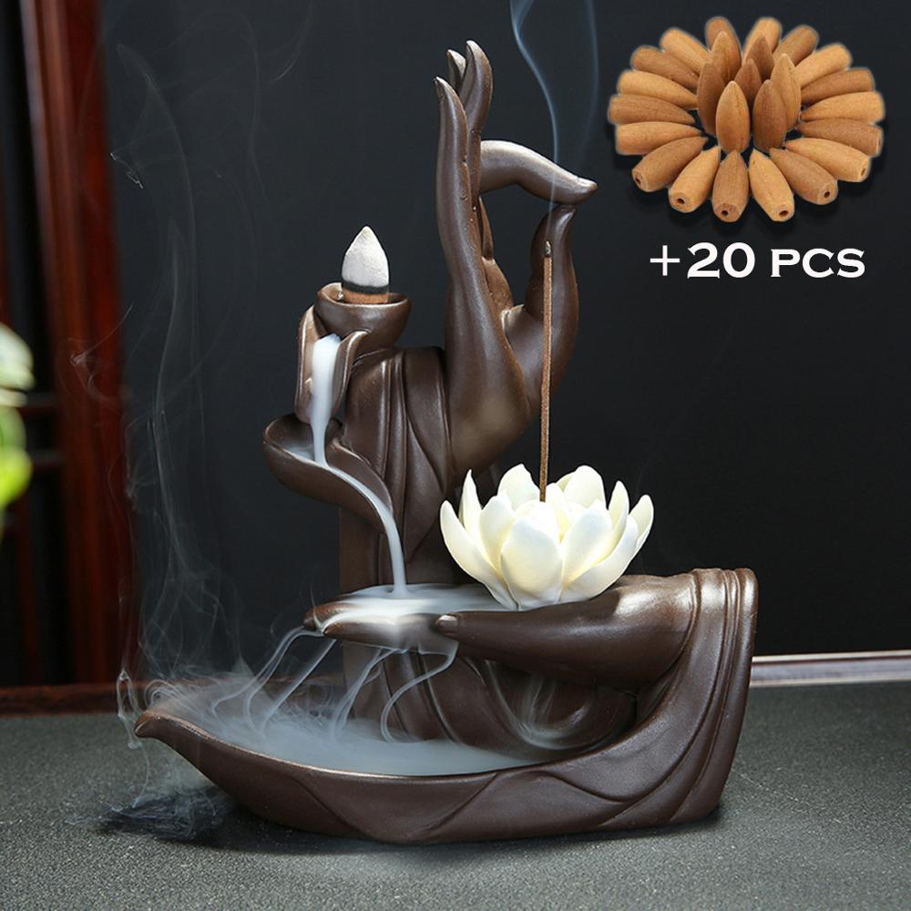Smoke Waterfall Ceramic Backflow Incense Burner - With 20 Pcs Incense Cones