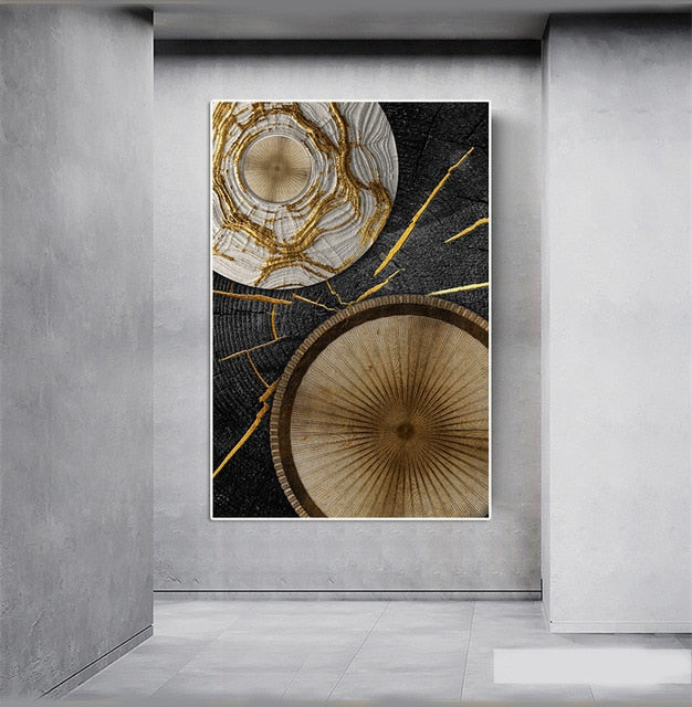 Gold and Black Abstract Wall Art Canvas Painting