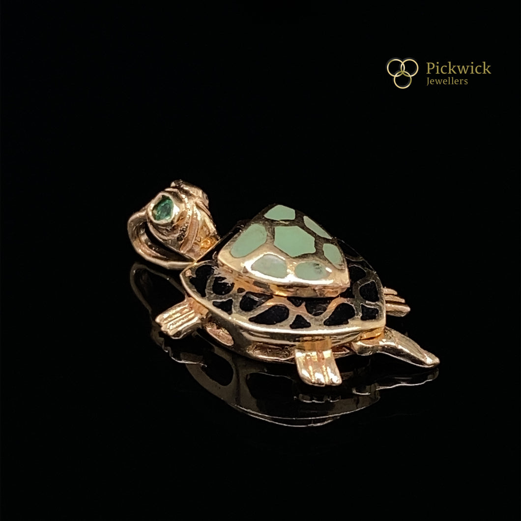 14ct Yellow Gold Enamel Turtle Pendant SOLD