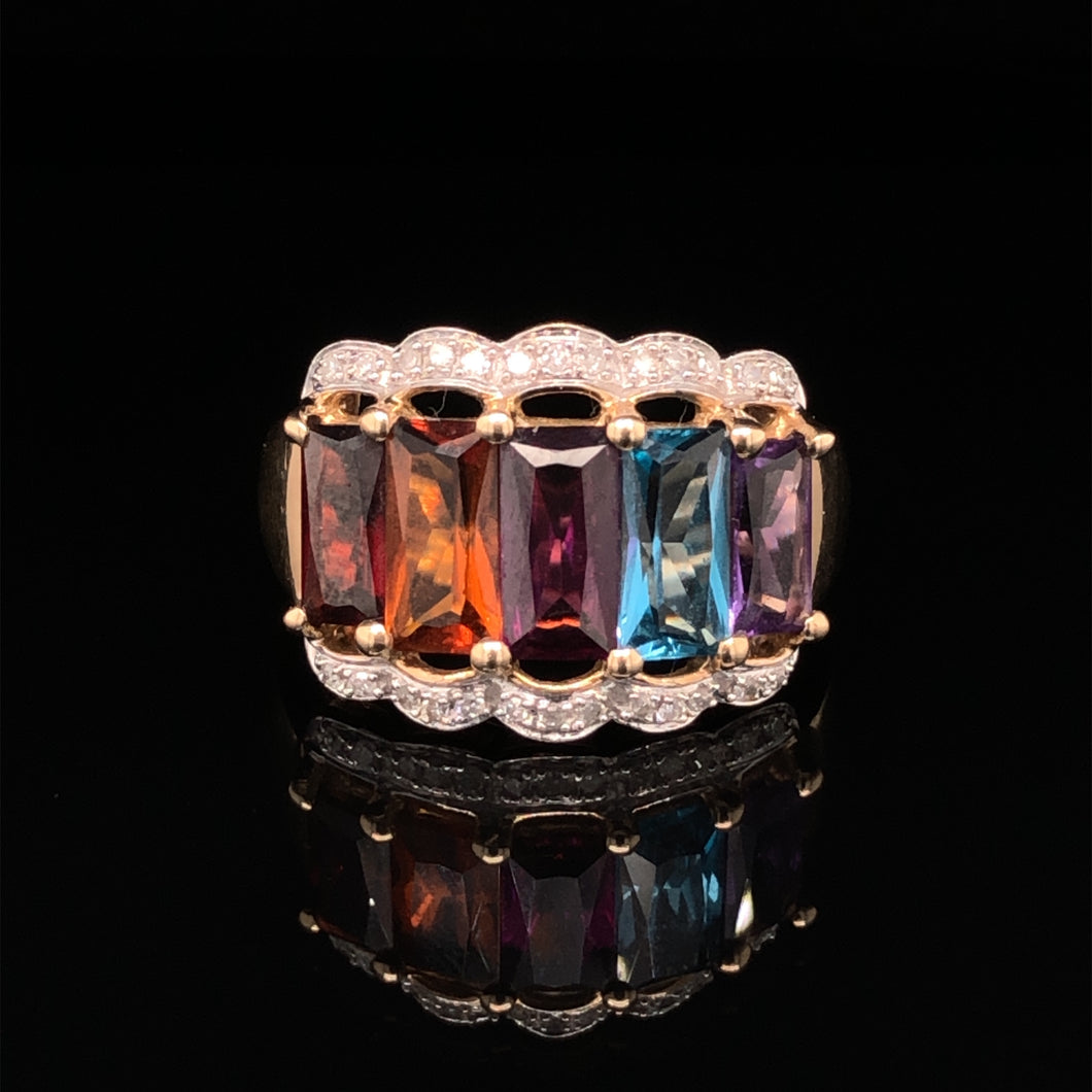 9ct Diamond & Multi Gem Ring
