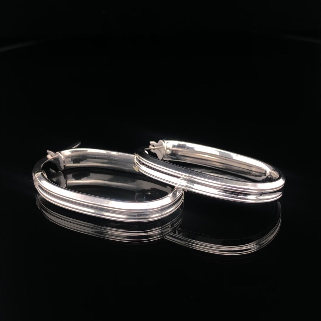 9ct White Gold Oval Hoops