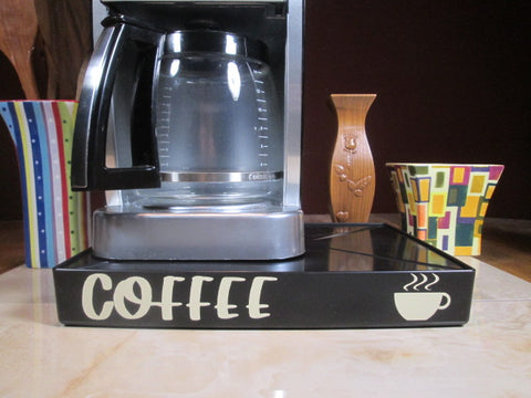 Coffee with Coffee, Coffee Station Overflow Deck Coffee Accessory with words Coffee applied in vinyl, perfect coffee lovers gift or for your coffee bar decor.