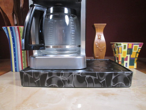 Coffee Station Black Swirl,Coffee Station Overflow Deck Coffee Accessory, perfect coffee lovers gift or for your coffee bar decor.