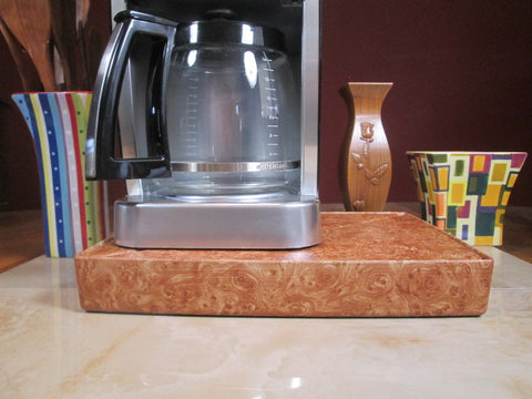 Coffee Station Burlwood, Coffee Station Overflow Deck Coffee Accessory, perfect coffee lovers gift or for your coffee bar decor.