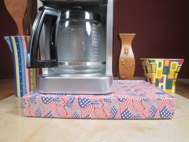 Coffee Station American Flags Coffee Station Overflow Deck Coffee Accessory perfect coffee lovers gift or for your coffee bar decor.
