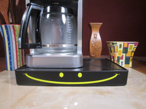 Yellow happy face Coffee Station, Coffee Station Overflow Deck Coffee Accessory, perfect coffee lovers gift or for your coffee bar decor.