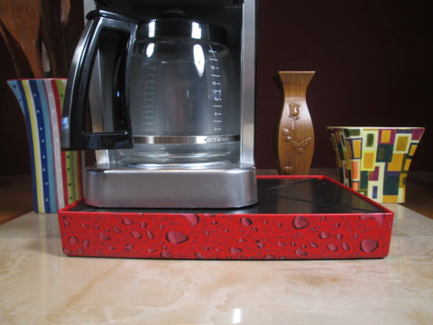 Coffee Station Water Drop Red, Coffee Station Overflow Deck Coffee Accessory, perfect coffee lovers gift or for your coffee bar decor.