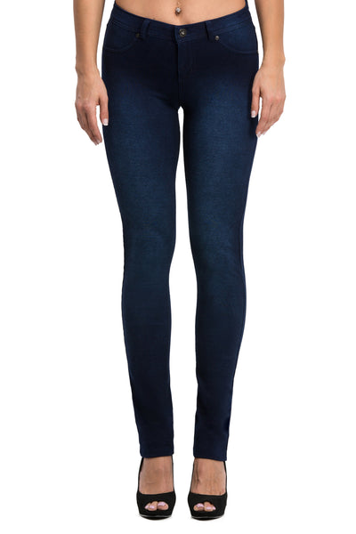 Mid-Rise Knit Skinny Pants (Washed Indigo) - Poplooks