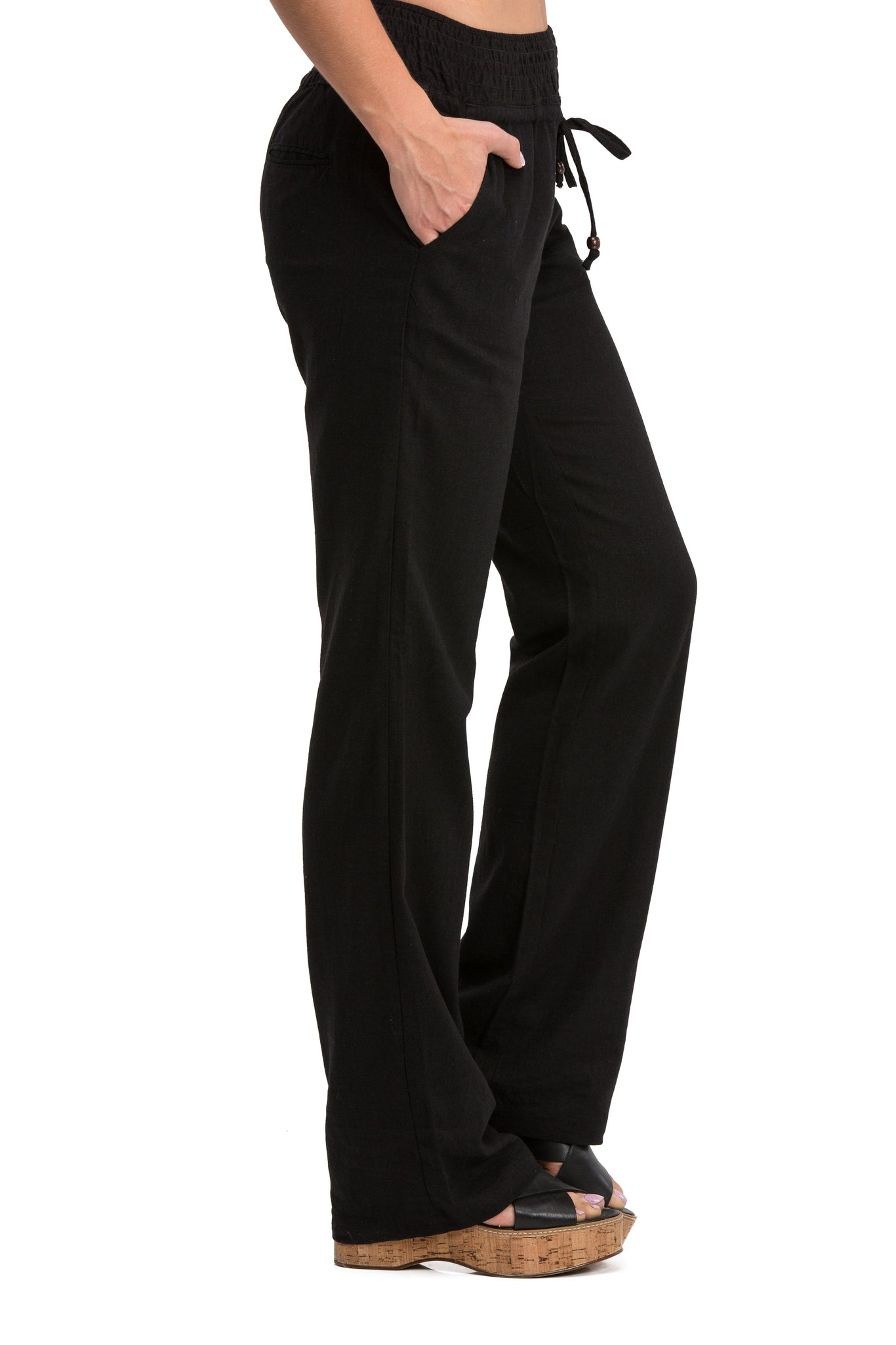 Comfy Drawstring Linen Pants Long with Smocked Band Waist (Black)