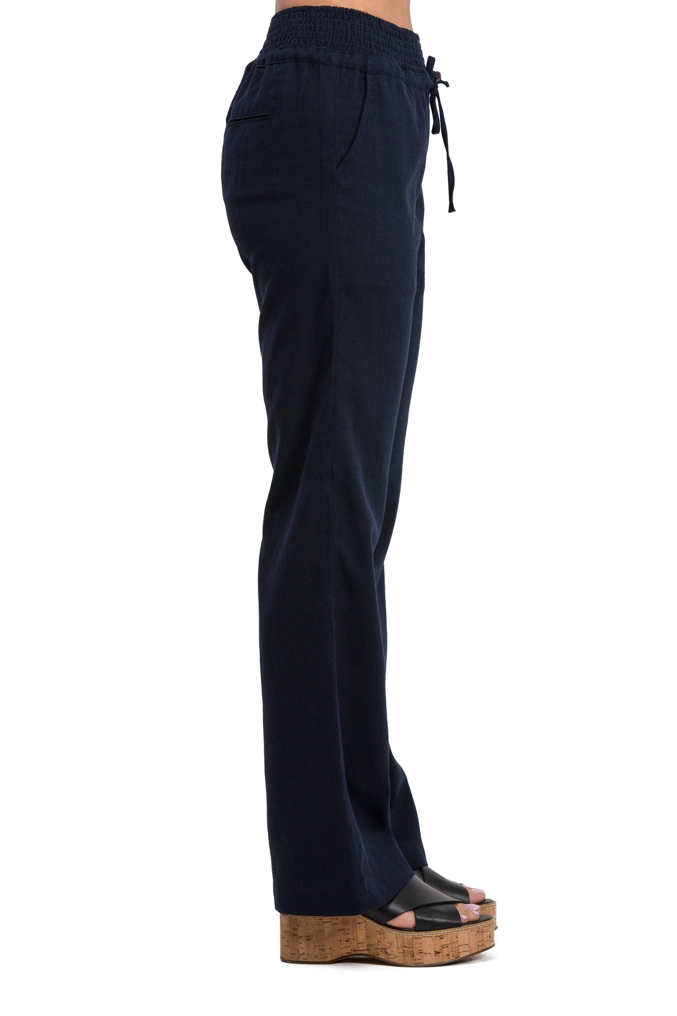 Comfy Drawstring Linen Pants Long with Smocked Band Waist (Navy) - Poplooks