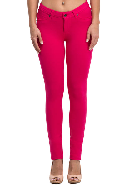 Stretch Skinny Knit Jegging Pants (Magenta) - Poplooks