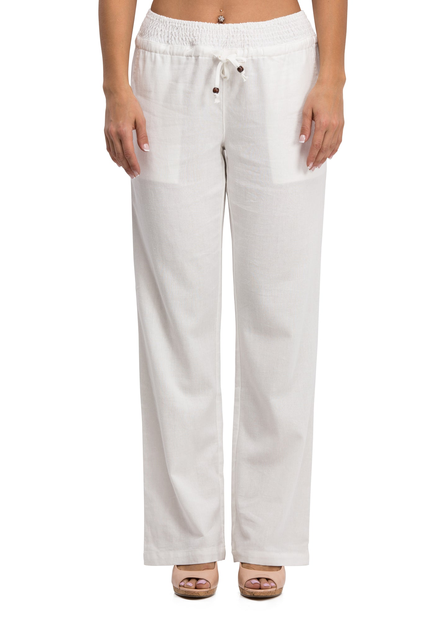 Comfy Drawstring Linen Pants Long with Smocked Band Waist (White) - Poplooks