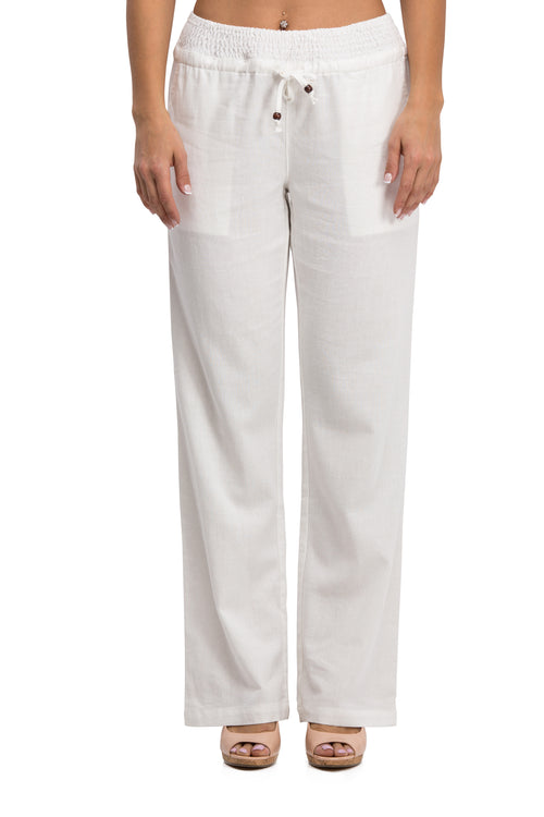 Comfy Drawstring Linen Pants Long with Smocked Band Waist (White)