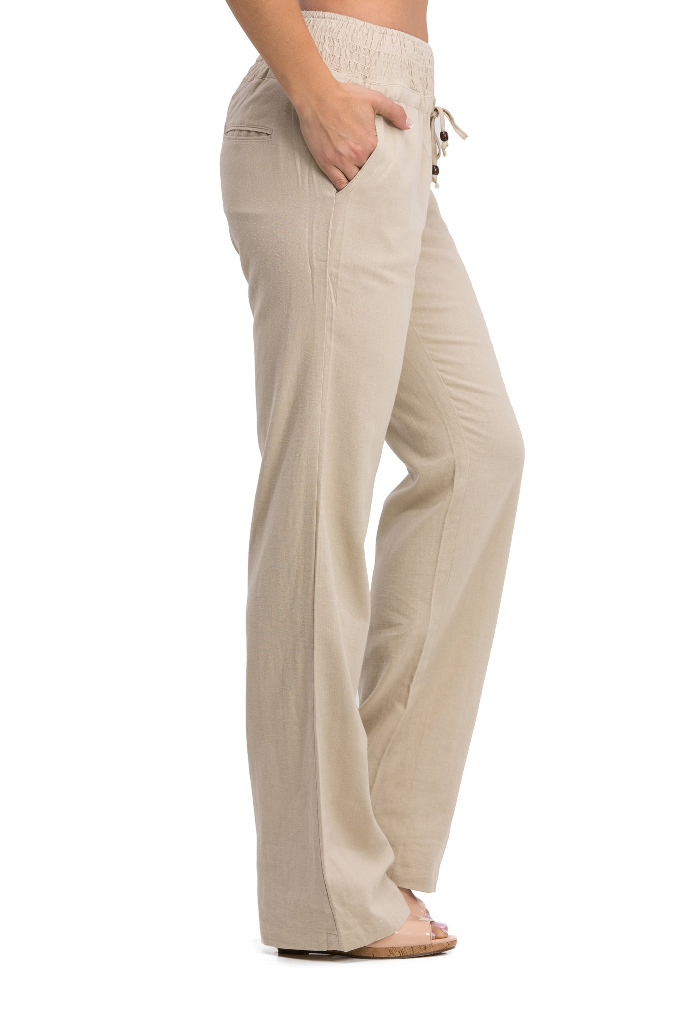 Comfy Drawstring Linen Pants Long with Smocked Band Waist (Natural) - Poplooks