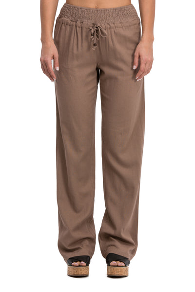 Comfy Drawstring Linen Pants Long with Smocked Band Waist (Mocha) - Poplooks