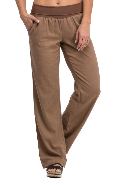 Comfy Fold Over Linen Pants (Mocha)