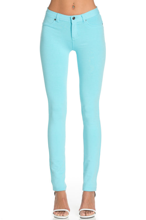 Stretch Skinny Knit Jegging Pants (Aqua Blue)