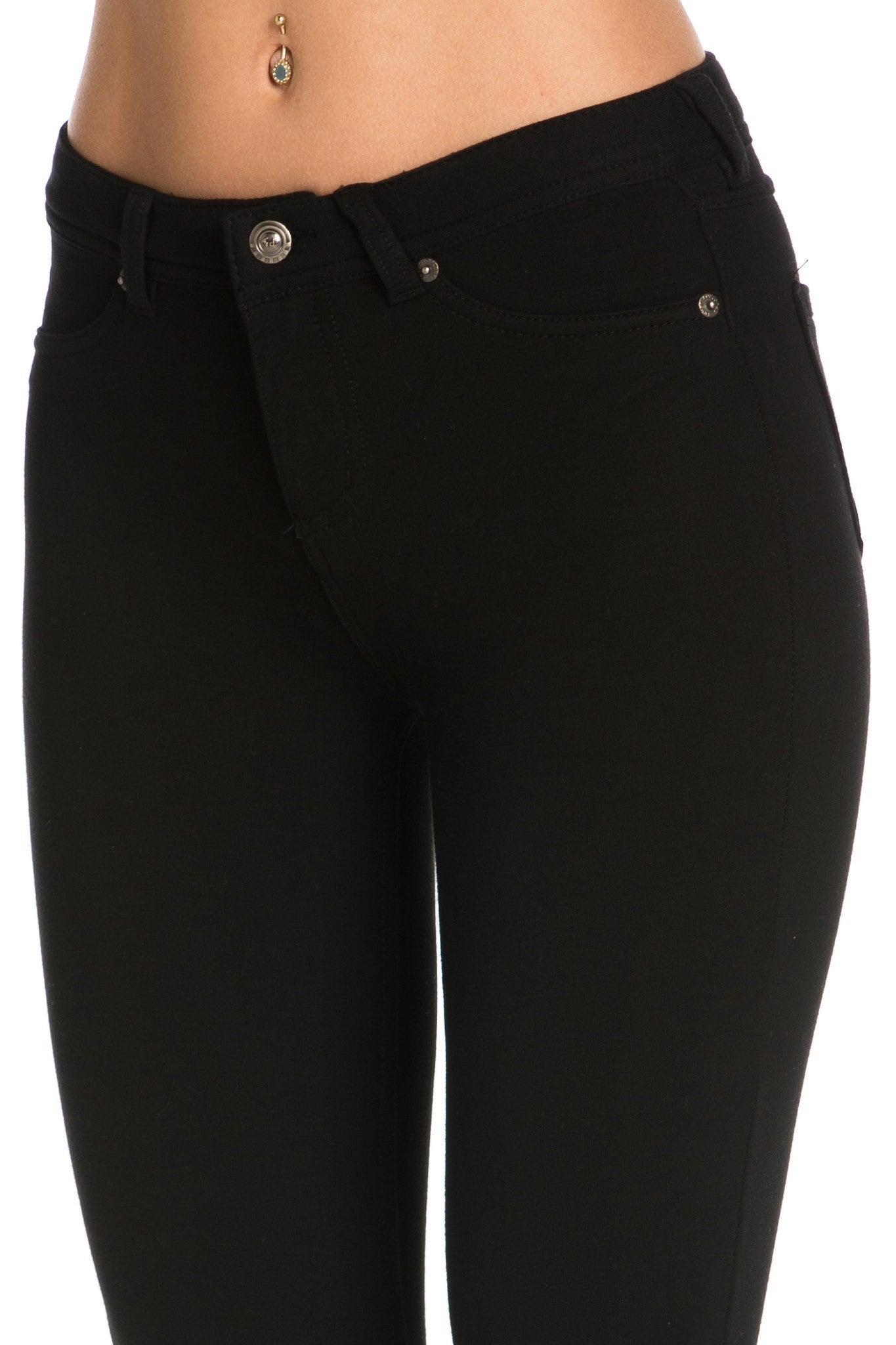 Stretch Skinny Knit Jegging Pants (Black) - Poplooks