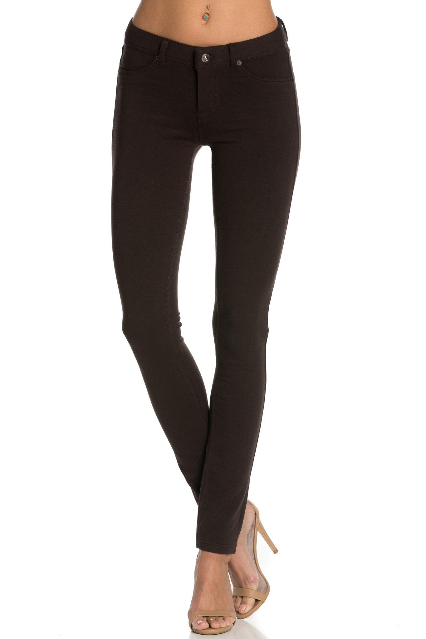 Stretch Skinny Knit Jegging Pants (Brown) - Poplooks