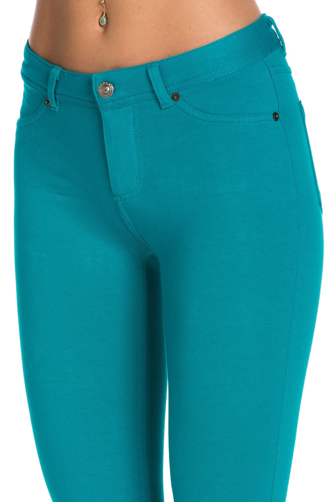Stretch Skinny Knit Jegging Pants (Emerald Green) - Poplooks