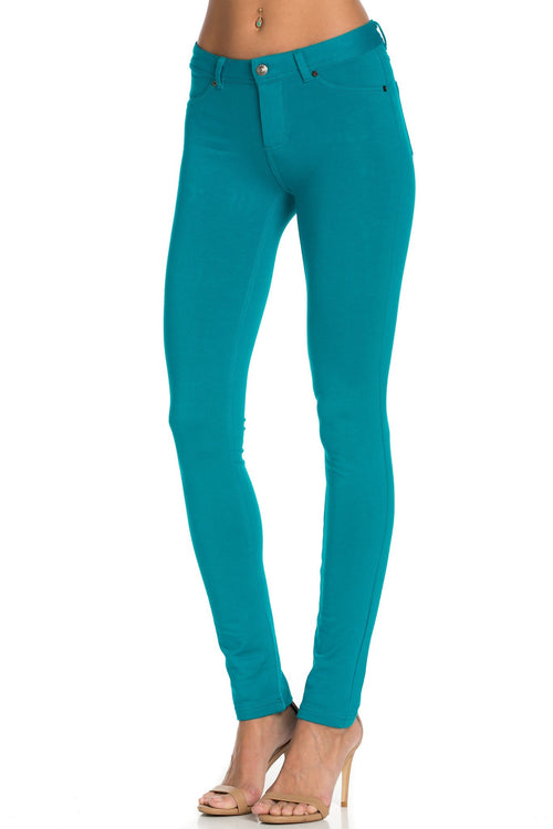 Stretch Skinny Knit Jegging Pants (Emerald Green)