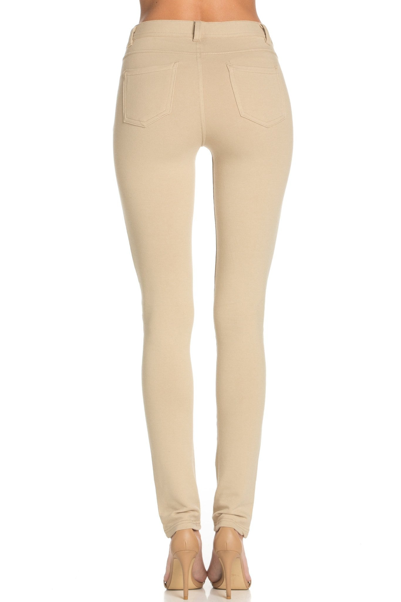 Stretch Skinny Knit Jegging Pants (Khaki) - Poplooks