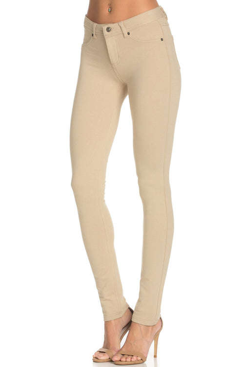 Stretch Skinny Knit Jegging Pants (Khaki)
