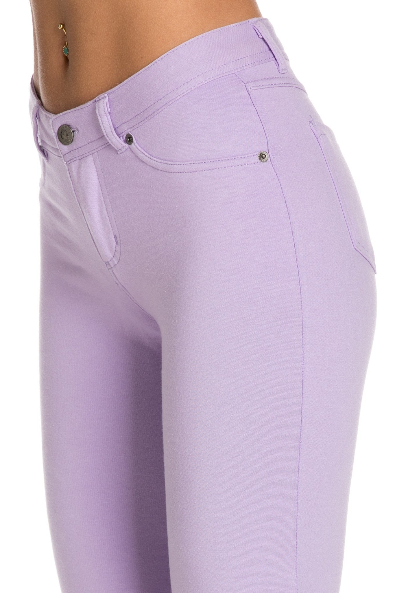 Stretch Skinny Knit Jegging Pants (Lilac) - Poplooks