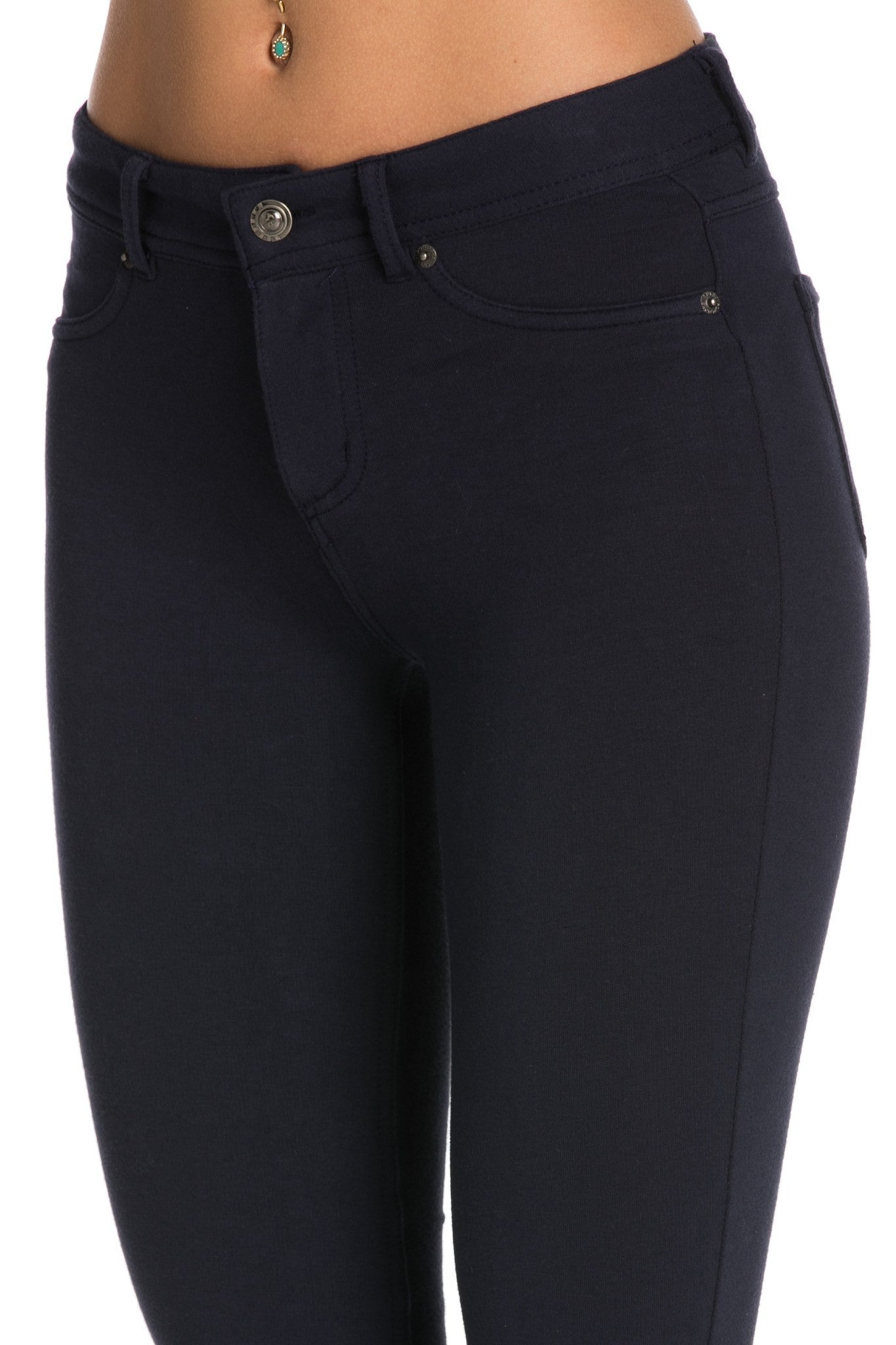 Stretch Skinny Knit Jegging Pants (Navy) - Poplooks