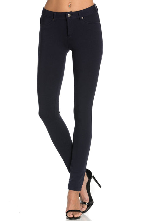 Stretch Skinny Knit Jegging Pants (Navy)