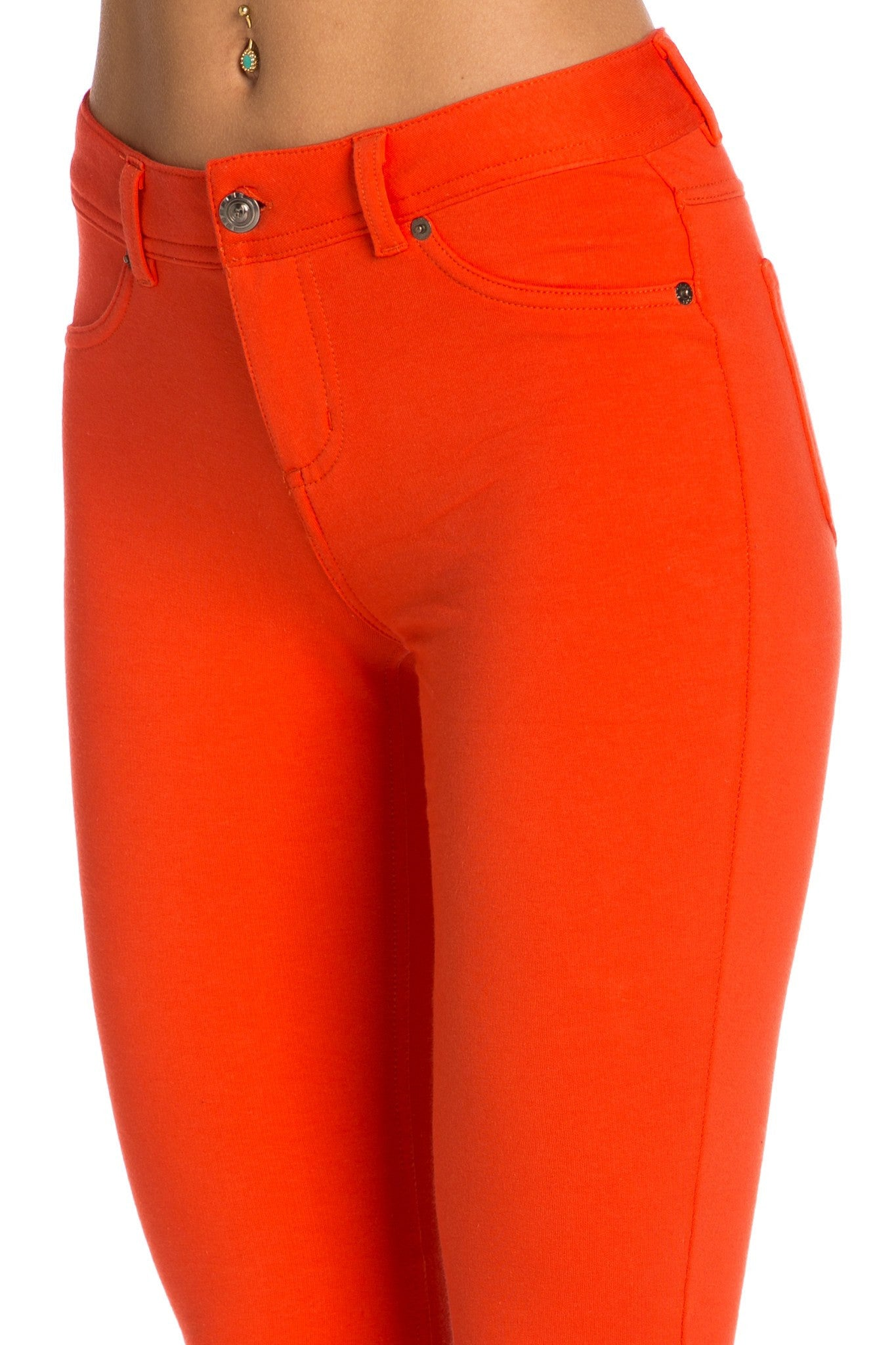Stretch Skinny Knit Jegging Pants (Orange) - Poplooks