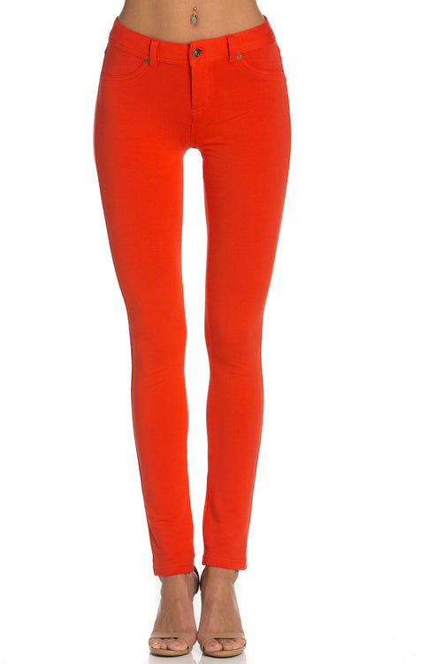 Stretch Skinny Knit Jegging Pants (Orange)