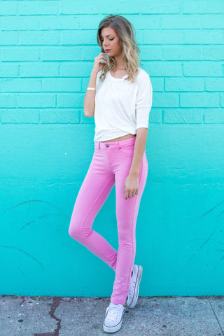 Pink Colored Knit Pants