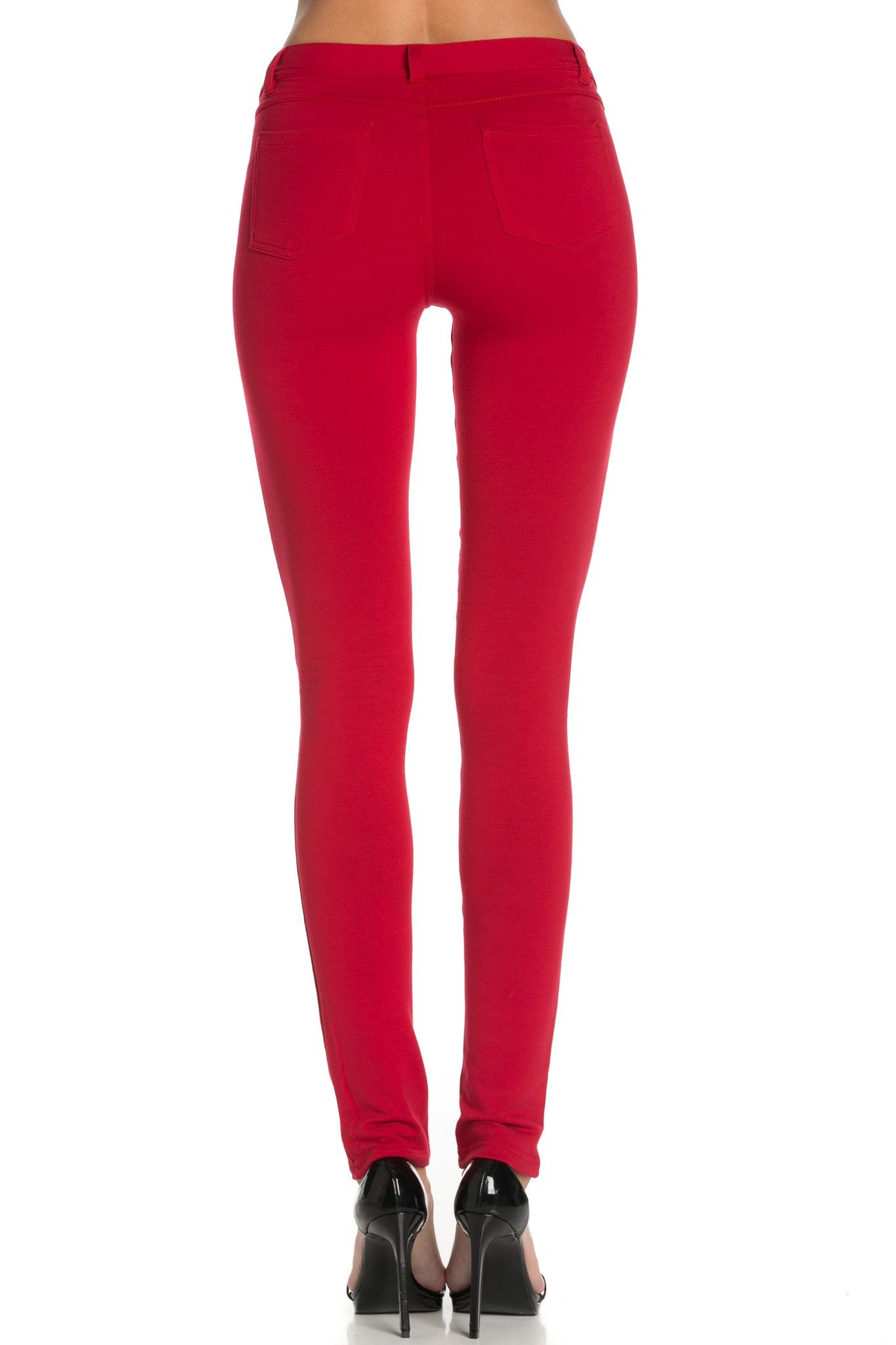 Stretch Skinny Knit Jegging Pants (Red) - Poplooks