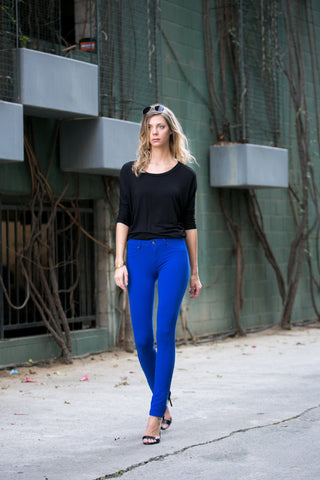 Royal Blue Colored Knit Pants