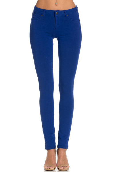 Stretch Skinny Knit Jegging Pants (Royal Blue) - Poplooks