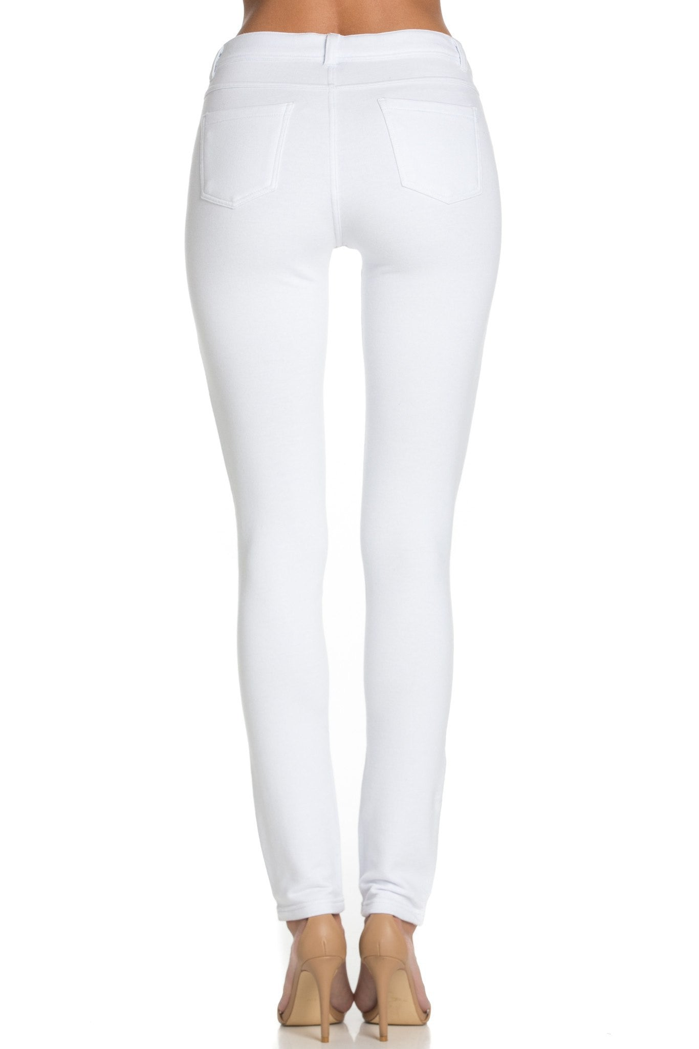 Stretch Skinny Knit Jegging Pants (White) - Poplooks
