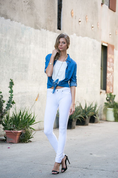 Poplooks 511S/White Knit Skinny