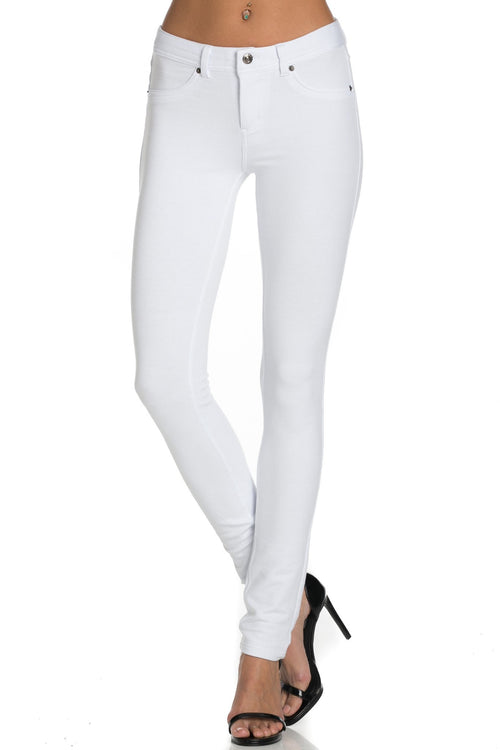 Stretch Skinny Knit Jegging Pants (White)