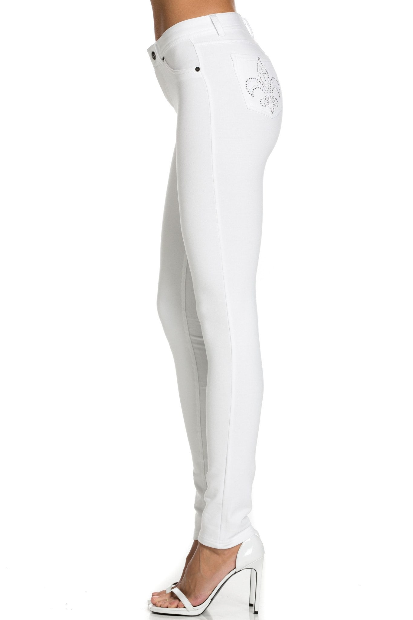 Embellished Stretch Skinny Knit Jegging Pants (White Fleur-de-Lis) - Poplooks