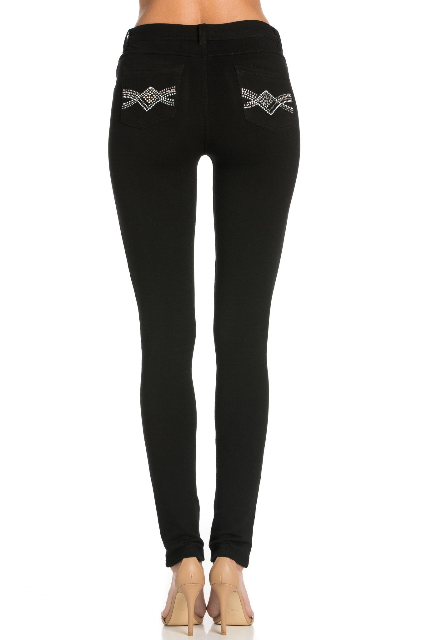 Embellished Stretch Skinny Knit Jegging Pants (Diamond) - Poplooks