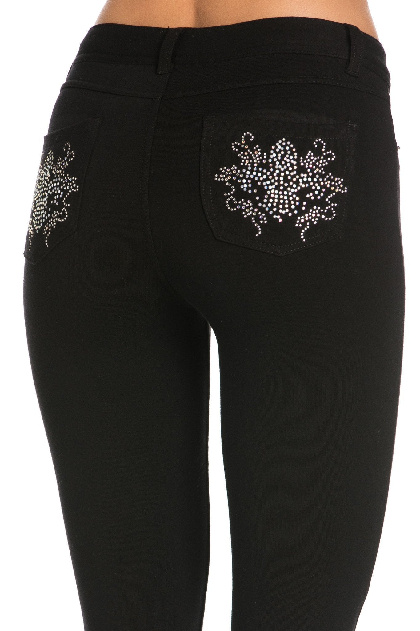 Embellished Stretch Skinny Knit Jegging Pants (Flower) - Poplooks