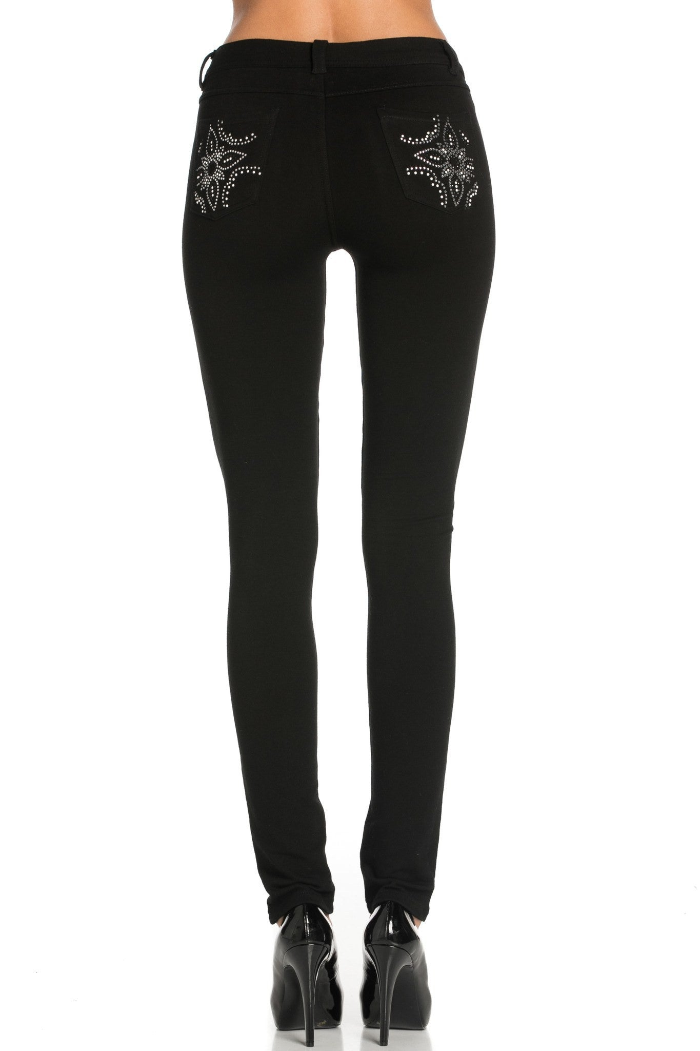 Embellished Stretch Skinny Knit Jegging Pants (Double Star) - Poplooks